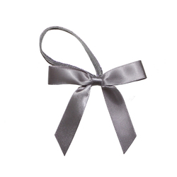 silver satin ribbon bow with elastic loop/perfume bottle pre made ribbon bow/elastic ribbon bow for packing