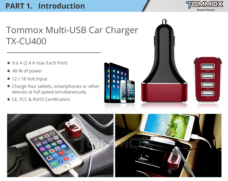 1 year warranty 4 port usb car charger 48w, stands any test