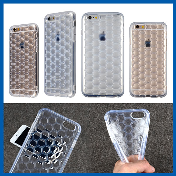C&T Hexagons Textures Honeycomb Background Clear Soft TPU Cover For iPhone 6 Plus (5.5 inch)