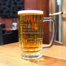 China supplier 345 ml mini glass beer mug/ cup/ stem clear glass mug with handle