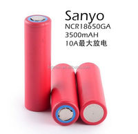 red lithium ion 18650 rechargeable sanyo ga 3500mah battery 18650 3.7v 10a discharge ncr18650 GA SANYO high power li-ion battery