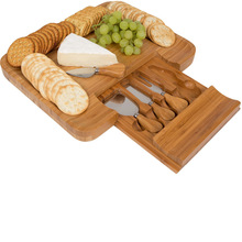 100% Natural Bamboo Cheese Cutting Board & Cutlery Set with Slide-Out Drawer