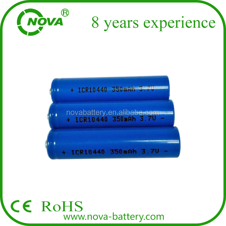 icr rechargeable aaa li-ion battery 10440 3.7v 350mah battery