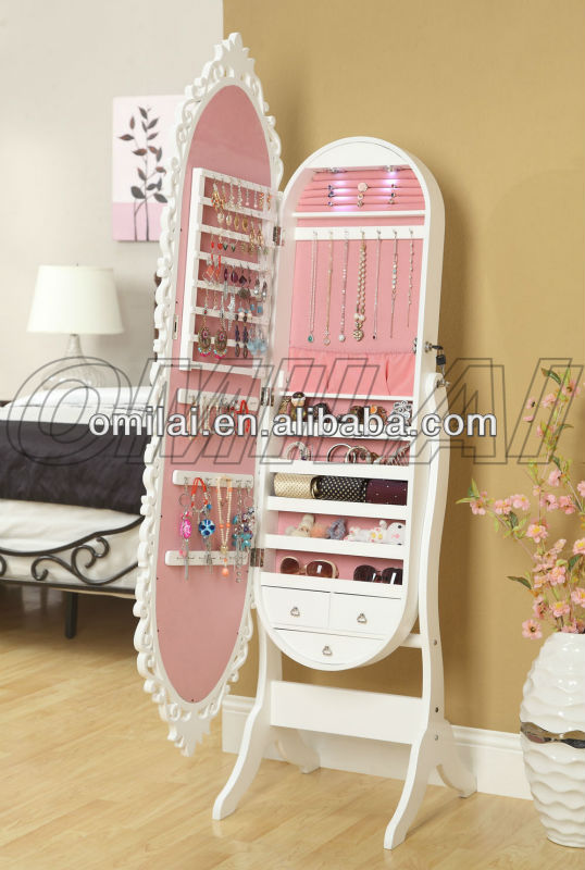 2013 hot sales, cheapest bedroom furniture oval jewelry armoire
