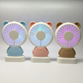 Colorful mini damo bear usb portable rechargeable hand fan with led light