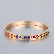 yiwu OEM factory wholesale hot sale Russian style 18k gold plated copper jewelry enamel bracelet bangle