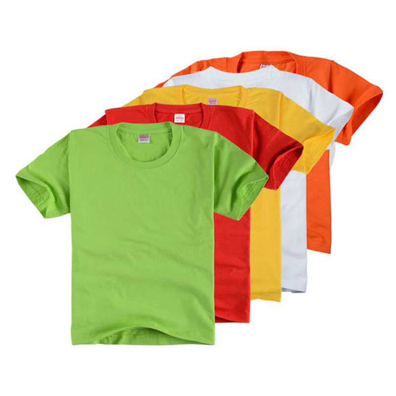 Wholesale colorful 100 percent pure cotton children t shirt with printed LOGO