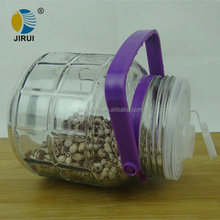 Storage of glass Plum wine bottles 1L with the round shape with food