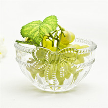 Bow decorative clear mini glass fruit bowl for home table