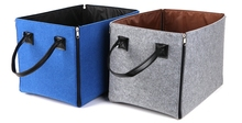 wholesale handmde Felt Foldable Handy Storage Basket Hamper With Zippers