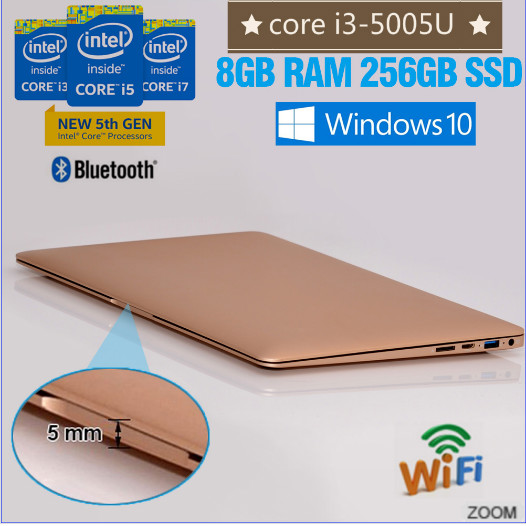 cheap computer store laptop i3 Intel core i3-5005U 256GB cheap 13.3 inch laptop with RAM and Hard Disc WIFI dual band bluetooth