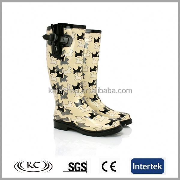 trendy dog print discount long rubber boots for women