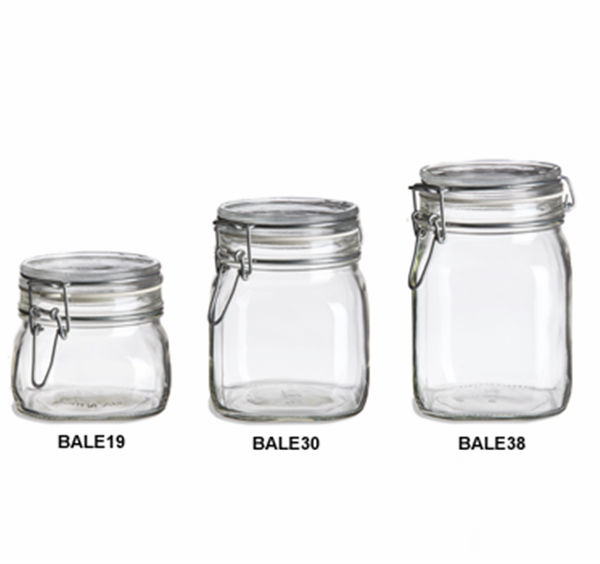 8 oz ,16 oz ,22 oz clear glass material empty mason jar with swing metal flip top