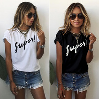 FY 2017 Fashion Women Tops new summer letter printed t shirts ladies short sleeve Plus size