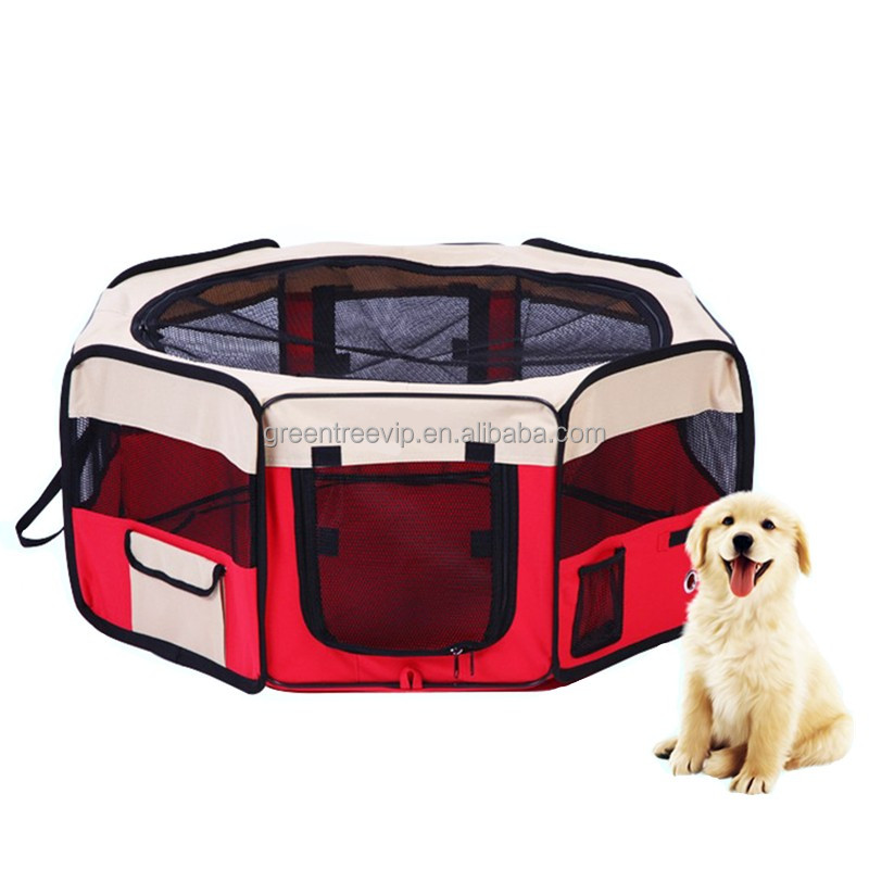 Portable Aluminum Pen For Dogs Folded Outdoor Pet Carry Bag Playpen