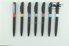Promotinal plastic pen twisted with black barrel colorful ring