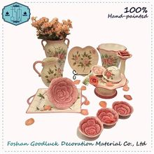 Ceramic Hand Drawing Rose Sale Dishes Dinnerware Sets For 12 Clearance