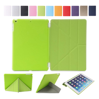 Fashion color 11 folded styles Slim PU Leather smart cover case for iPad air Ultra Thin slim cover case for ipad 5