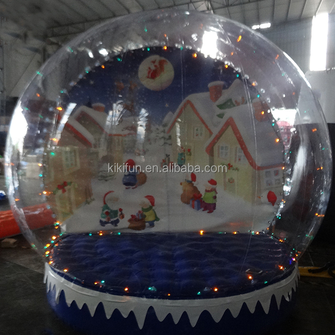 Outdoor inflatable christmas photo model snowman snow globe with LED light, giant snow balloon for advertising with photo insert
