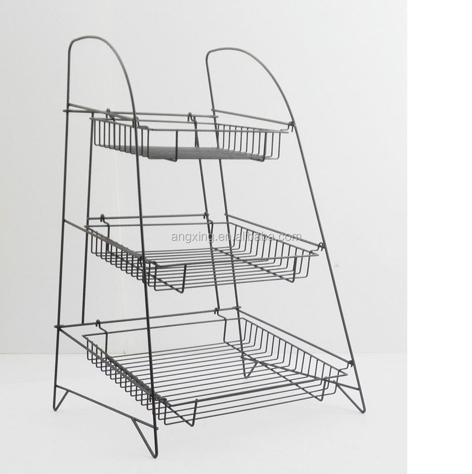 3 Tier Wire Display Rack Bakery Snacks Confection Tray Display Countertop <strong>Stand</strong>