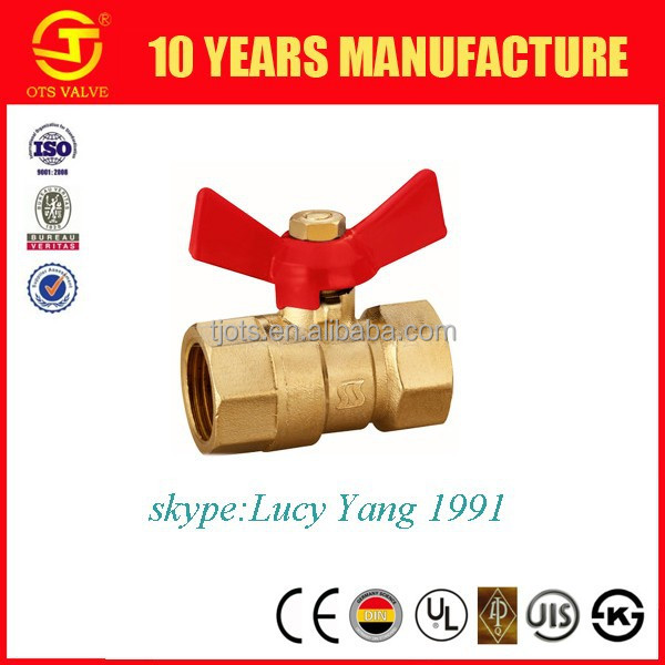 forged brass ball valve dn20 with butterfly handle