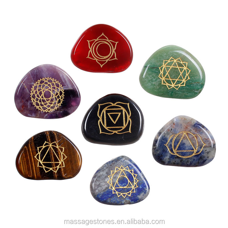 christmas new hot gifts Blue Sand engraved reiki healing stones word stones /Engraved Chakra Stone Palm Stone Crystal