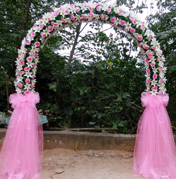 Custom Foldable Wedding Flower Arch Decoration With Artificial Flower Stock