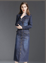 2016 new blue button front one piece maxi long jeans denim dress for women