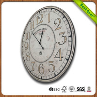 Carving round wooden clock wall clock