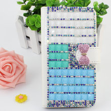 Luxury wallet style diamond crystal bling bling leather case for SONY ERICSSON LT 26I