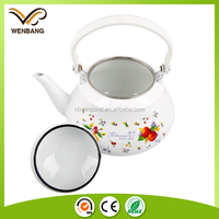 White color enameled coating metal kettle antique enamel chinese teapot