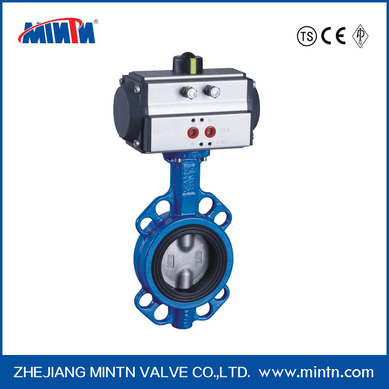 Double acting pneumatic flange ends pnuematic butterfly valve manufacturer CF8 Wafer Type