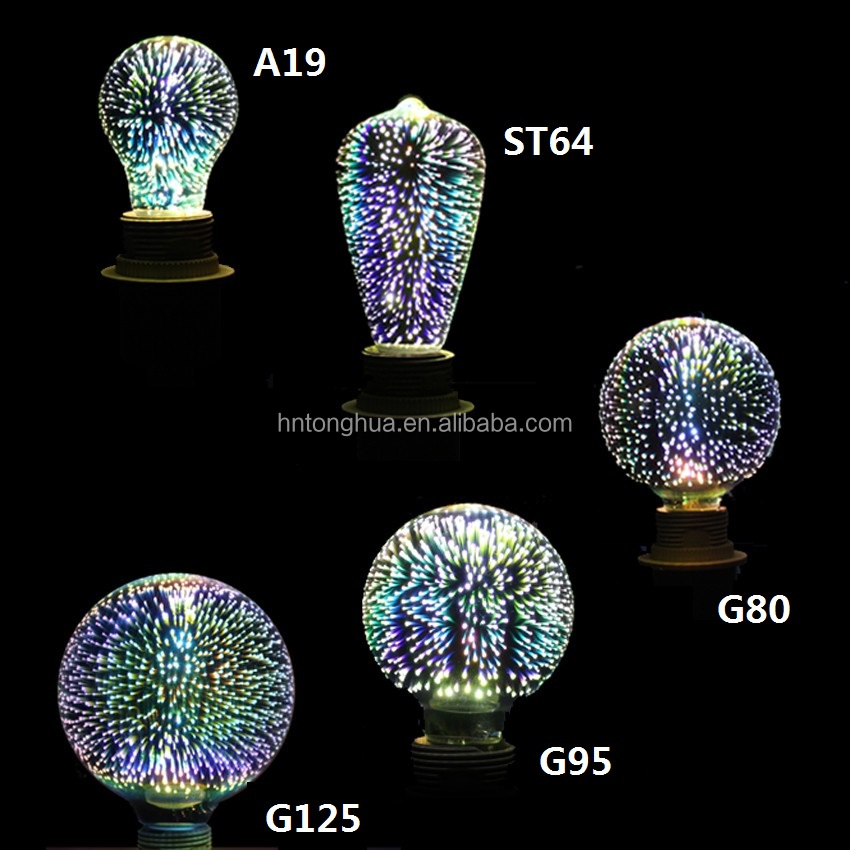 2017 New Product 3D LED Firework Bulbs AC85-265V 3D LED Bulbs