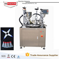 Ultrasonic Plastic Tube Filling Sealing Machine For Oval Plastic Body Care Packaging Tubes