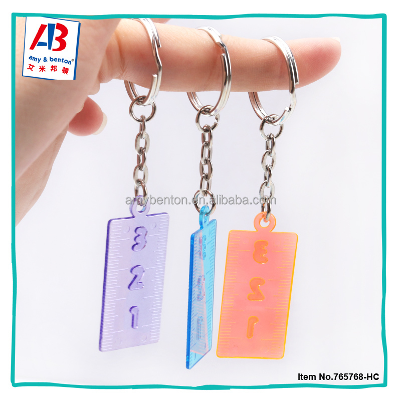 Fashion party door gifts plastic ruler fancy key ring