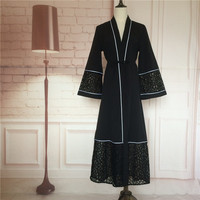 Open Abaya 2016 Islamic Clothing Wholesale Black Lace Classic Design Kaftan Dress Muslim Islamic Wear