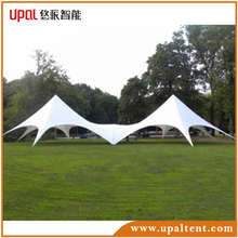 Hot sale PU coated polyester waterproof fire resistant connected double pole star tent
