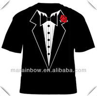 Sublimation all over body vivid printing Tuxedo T Shirt with Red Flower (Funny Stag Fancy Dress Party)