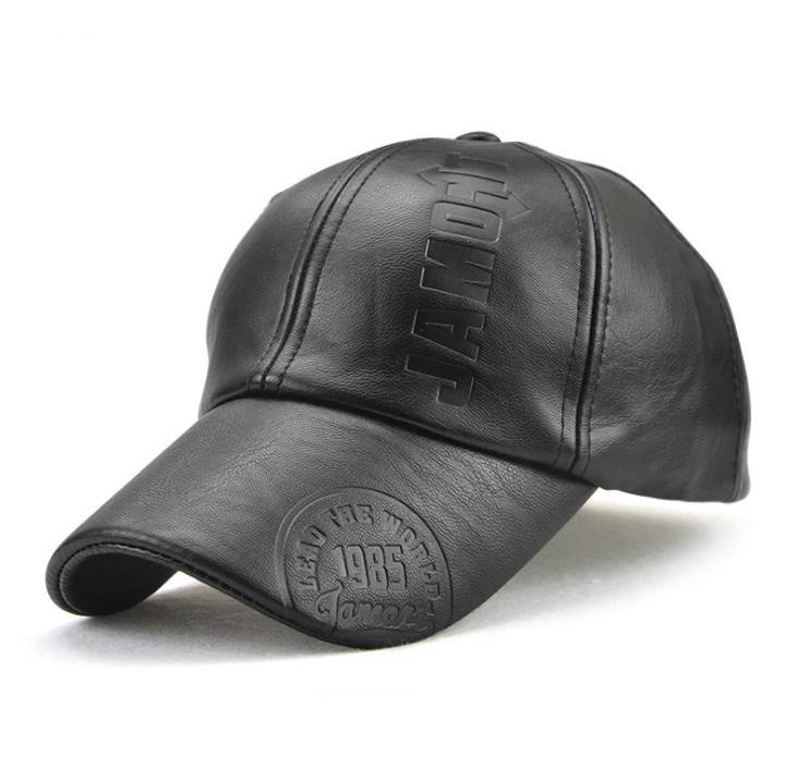 wholesale small order stock Hot <strong>sale</strong> autumn and winter distressed black leather baseball caps