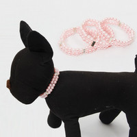 Pet Pink Double Deck Pearls Cat Necklaces Puppy Collars