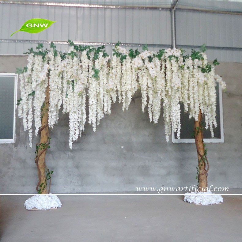 GNW FLA1603001-W01 New white Wisteria flower wood stand wishing wedding arch for wedding backdrop
