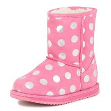 New Cold Winter Warm Fur Pinky Wave Point Girls Winter Snow Boots