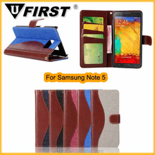 New Product For Samsung Galaxy Note 5 Wallet Case , PU Leather Flip Cover Case For Samsung Galaxy Note 5
