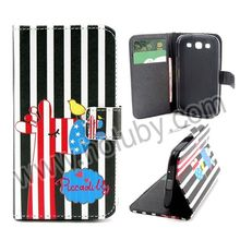 USA Flag Style Giraffe Pattern Cross Texture Wallet Stand PU Leather Flip Cover Case for Samsung Galaxy S3 i9300 Case
