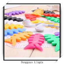 promotion colorful silicone fishbone earphone cable tidy