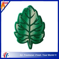 leaf map shape lime scents paper car air freshener with blue color