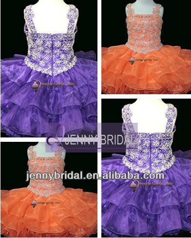 GPD001 Ball Gown puffy acting knee length orange beads cheap little girl pageant dress
