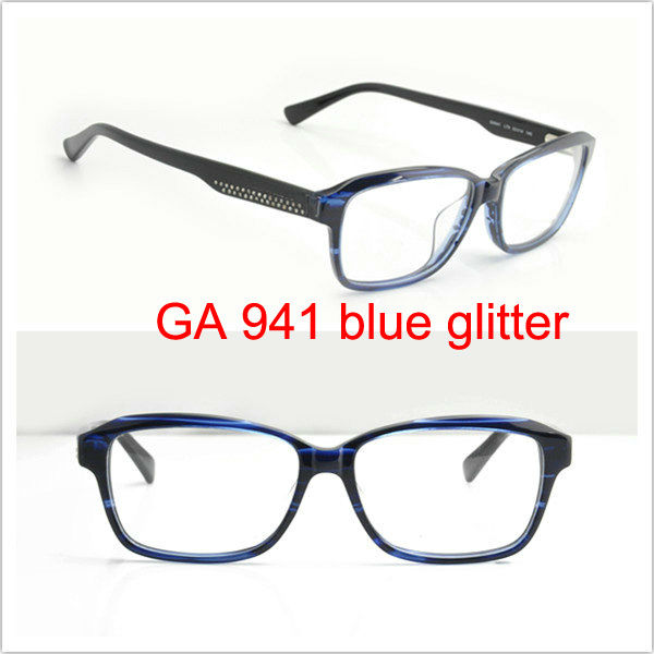 New arrival eyeware GA941 LT9 EG blue glitter eye glass name brand eyeglasses acetate optical frame eyeglasses frames