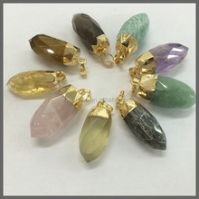LS-D1357 Wholesale gold plated faceted gemstone crystal point spike pendant