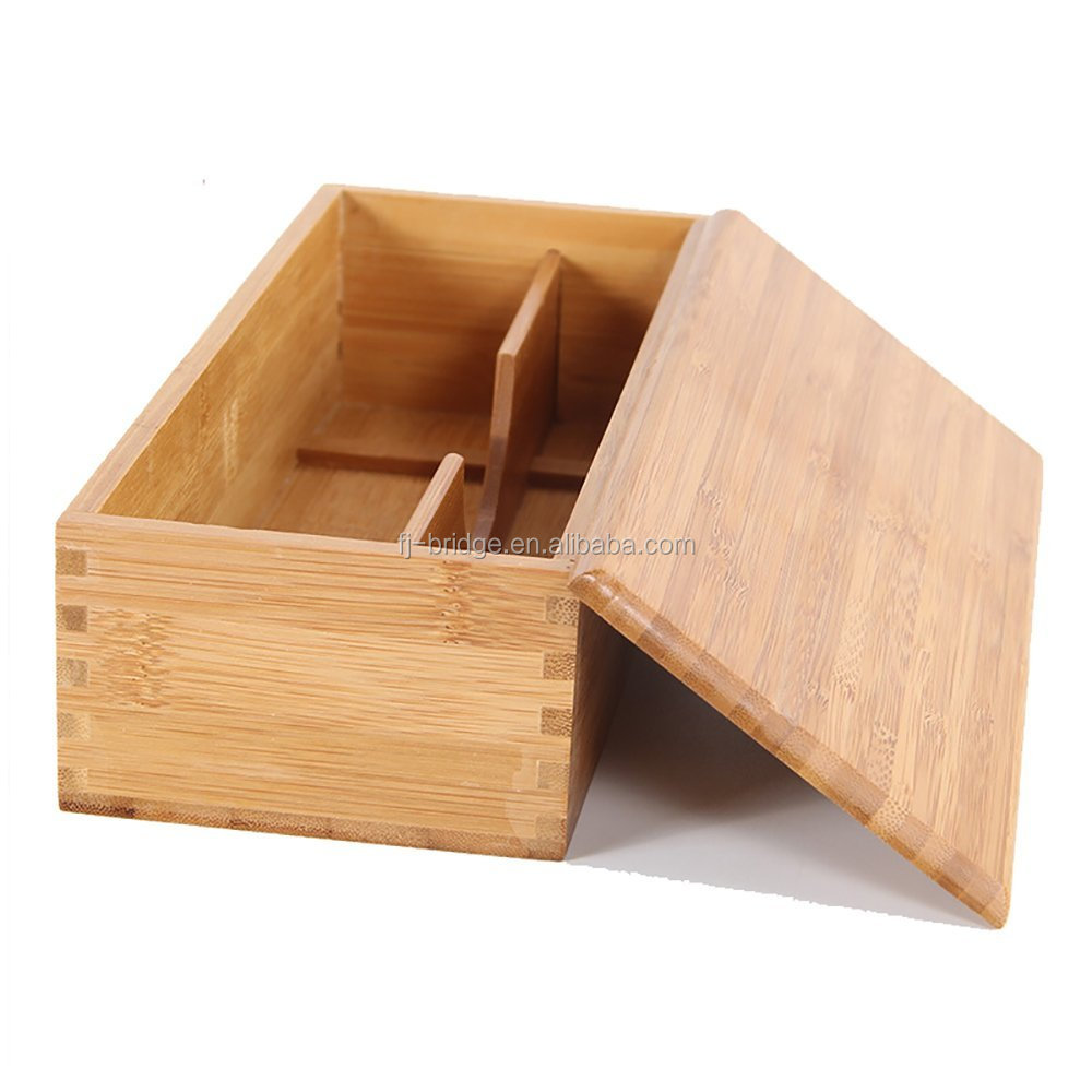 Bamboo Portable Utensils Storage Box Accessories Organizer Box for Cooking Tableware